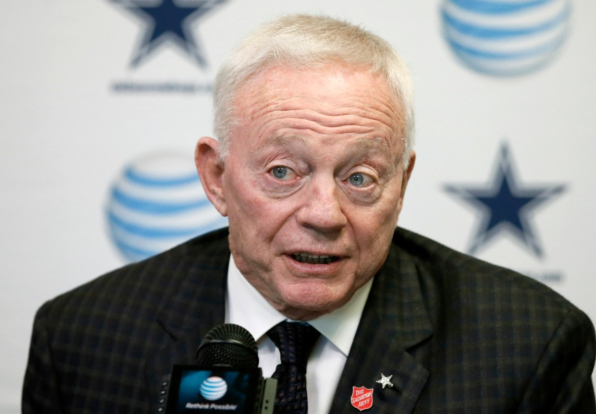 FILE - In this Jan. 15, 2015, file photo, Dallas Cowboys team owner Jerry Jones responds to a question during a news conference at the teams headquarters in Irving, Texas. Jones said Tuesday, March 10, 2015, he regretted the fact that some fans ended up without seats during the 2011 Super Bowl at his billion-dollar showplace stadium as he testified in a lawsuit by fans who sued the NFL.  (AP Photo/Tony Gutierrez, File)